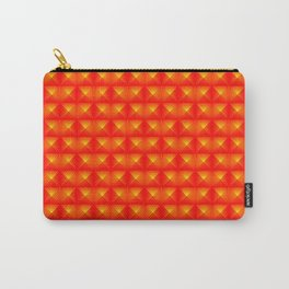Chaotic pattern of red squares and orange pyramids. Carry-All Pouch