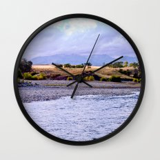 Camping on the Yellowstone River Wall Clock