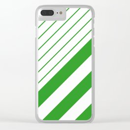 Green And White Stripes Pattern Clear iPhone Case
