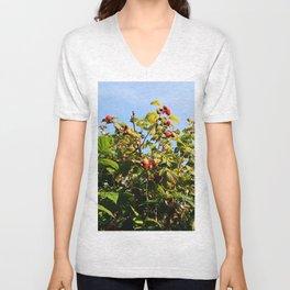 Raspberries reaching for the sky Unisex V-Neck