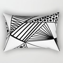 Modern abstract black white geometric stripes polka dots Rectangular Pillow