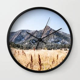 Flatirons Boulder // Colorado Landscape Photograph Yellow Red Field Green Forest Trees Wall Clock