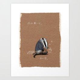 Badger Reading (It's Cold Outside) Art Print