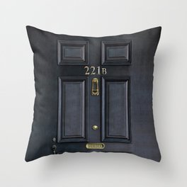 Haunted black door with 221b number Throw Pillow