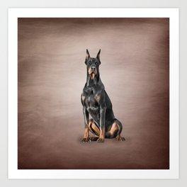 Drawing Doberman dog Art Print