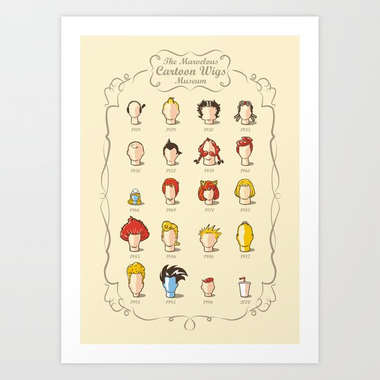 The Marvelous Cartoon Wigs Museum Art Print