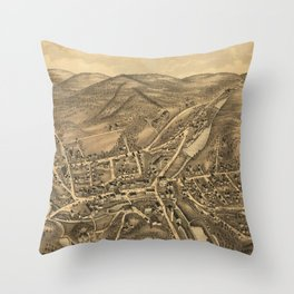 Vintage Map of Stafford Springs CT (1878) Throw Pillow