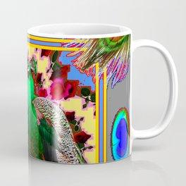 GREEN PEACOCK JEWELS & FEATHERS GREY ART Coffee Mug