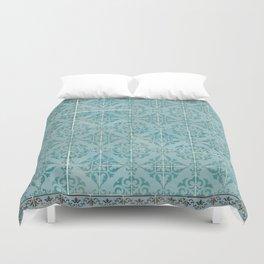 Victorian Turquoise Ceramic Tiles Duvet Cover