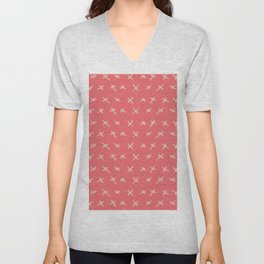 Pink sand brown abstract geometrical hand painted Unisex V-Neck