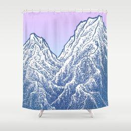 """遠望 series -""""Valley"""" - Linocut Shower Curtain"""