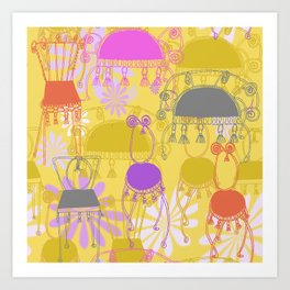 Spiral chairs with tassels Art Print