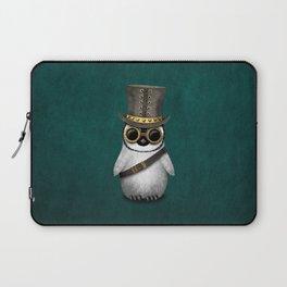 Steampunk Baby Penguin on Blue Laptop Sleeve