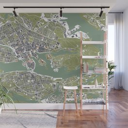 Stockholm city map engraving Wall Mural