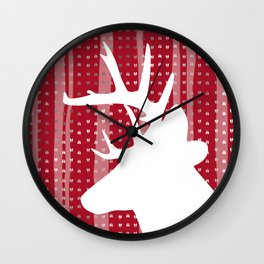 Eleghant Red Deer Holiday Design Wall Clock