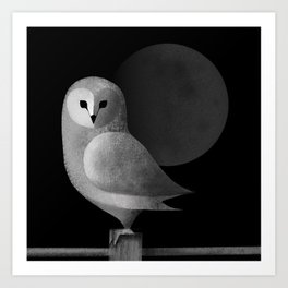 Barn Owl Full Moon Art Print