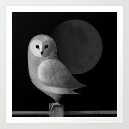 Barn Owl Full Moon Art Print