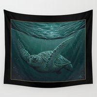 "biology Wall Tapestries featuring ""Eclipse"" - Green Sea Turtle, Acrylic by Amber Marine"