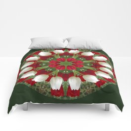Tulip Kaleidoscope - Red And White Comforters