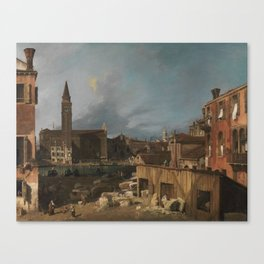 The Stonemason Yard Canaletto about 1725 Canvas Print