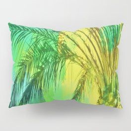 isolate palm tree with painting abstract background in green yellow Pillow Sham