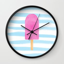 Watercolour popsicle in blue and pink Wall Clock