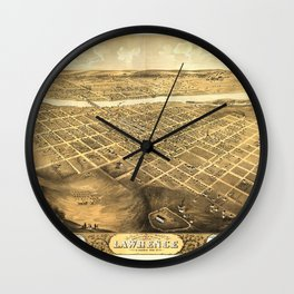 Bird's Eye View of Lawrence, Kansas (1869) Wall Clock
