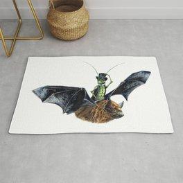 """ Rider in the Night "" happy cricket rides his pet bat Rug"