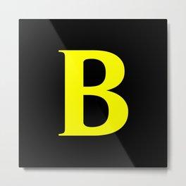 B MONOGRAM (YELLOW & BLACK) Metal Print