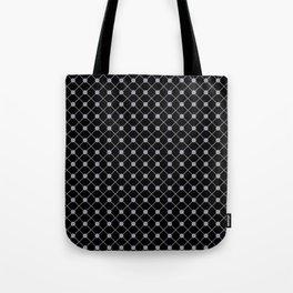 Pantone Lilac Gray Thin Line Stripe Grid (Pinstripe) and Polka Dots on Black Tote Bag