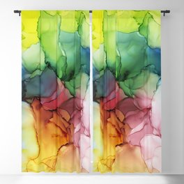 Rainbow Bloom Abstract ink Blackout Curtain