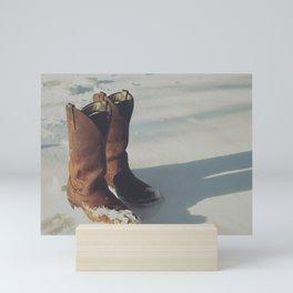 Cowboy Boots in Snow Mini Art Print