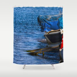 Boats at seaside in the turkish blue aegean sea Shower Curtain