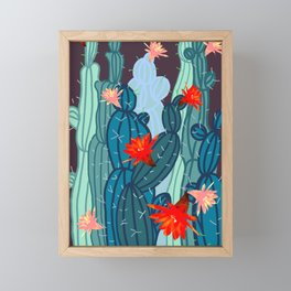 Cacti bloom Framed Mini Art Print