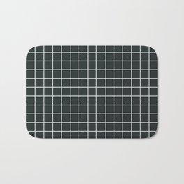 Charleston green - grey color - White Lines Grid Pattern Bath Mat