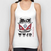 volkswagon Tank Tops featuring WWJD ?   What  Would Jesus Drive ? by BulldawgDUDE
