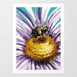 Wasp on flower 3 Art Print