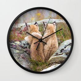 Lynx kittens - sister love Wall Clock