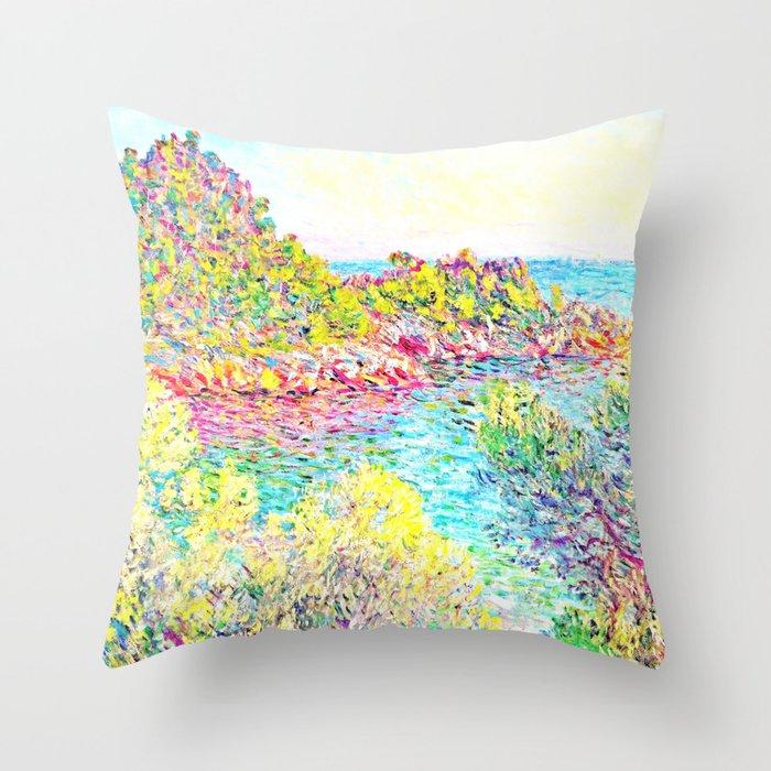 Monet Landscape Near Montecarlo Throw Pillow By Purelove