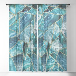 Turquoise Navy Blue Agate Black Gold Geometric Triangles Sheer Curtain