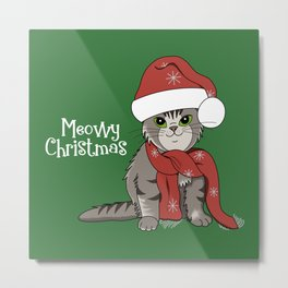 Cat Lover's Meowy Christmas Santa Cat With Green Background Metal Print