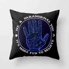 Me & Paranormal You - James Roper Design - Palmistry (white lettering) Throw Pillow