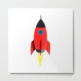 Red Rocket Blast Off Metal Print