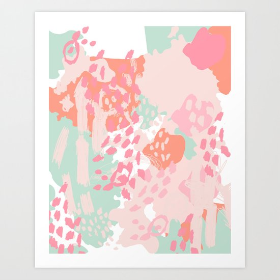Billie - abstract gender neutral trendy painting soft colors bright happy nursery baby art Art Print