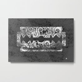 Swirly Razor Blade Metal Print