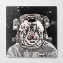 Astronaut White Tiger Selfie Metal Print