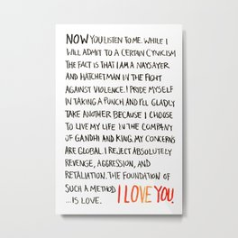 The Foundation of Such a Method Is Love Metal Print