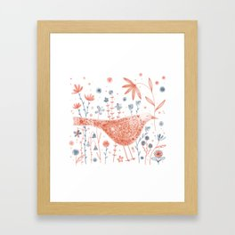 Apricot Bird Framed Art Print