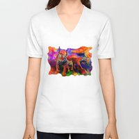 tigers V-neck T-shirts featuring Psychedelic Tigers by JT Digital Art