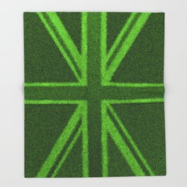 Grass Britain / 3D render of British flag grown from grass Throw Blanket